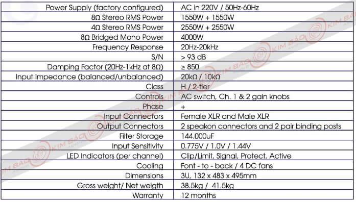 Thông số Main công suất Korah KA 36