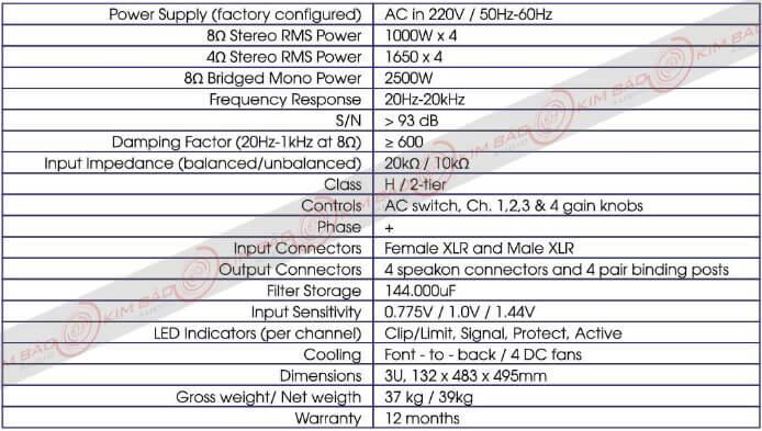 Thông số Main công suất Korah KA 39