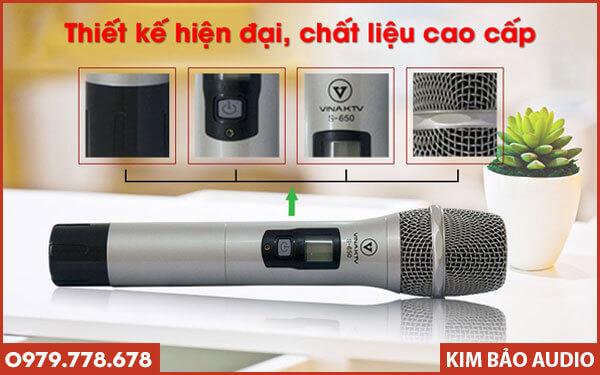 Micro không dây VinaKTV S650 - Tay cầm